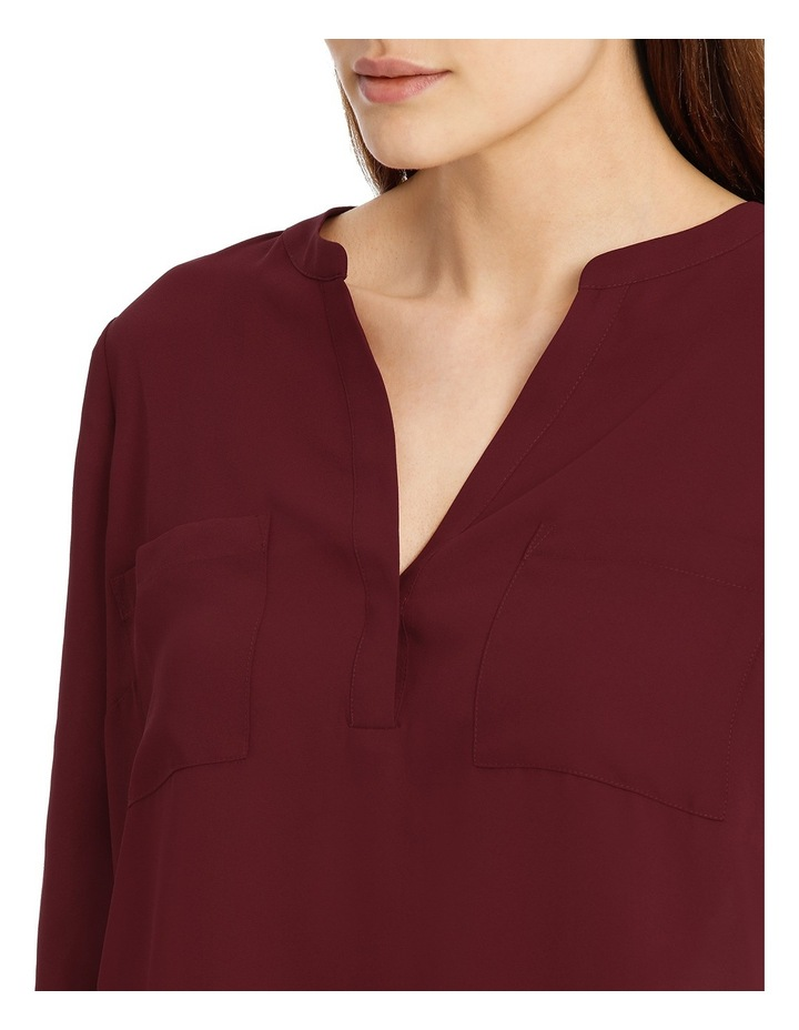 Double Pocket Roll Sleeve Shirt - Plum image 4