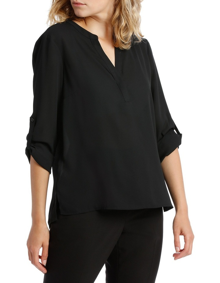 Roll Sleeve Collarless Shirt - Black image 2