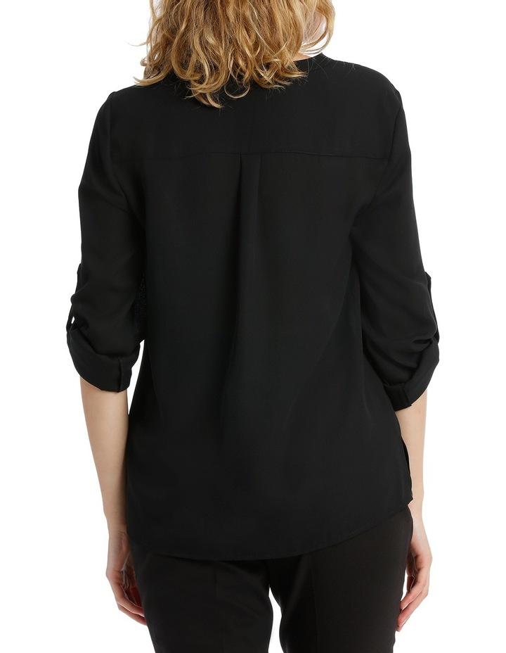 Roll Sleeve Collarless Shirt - Black image 3