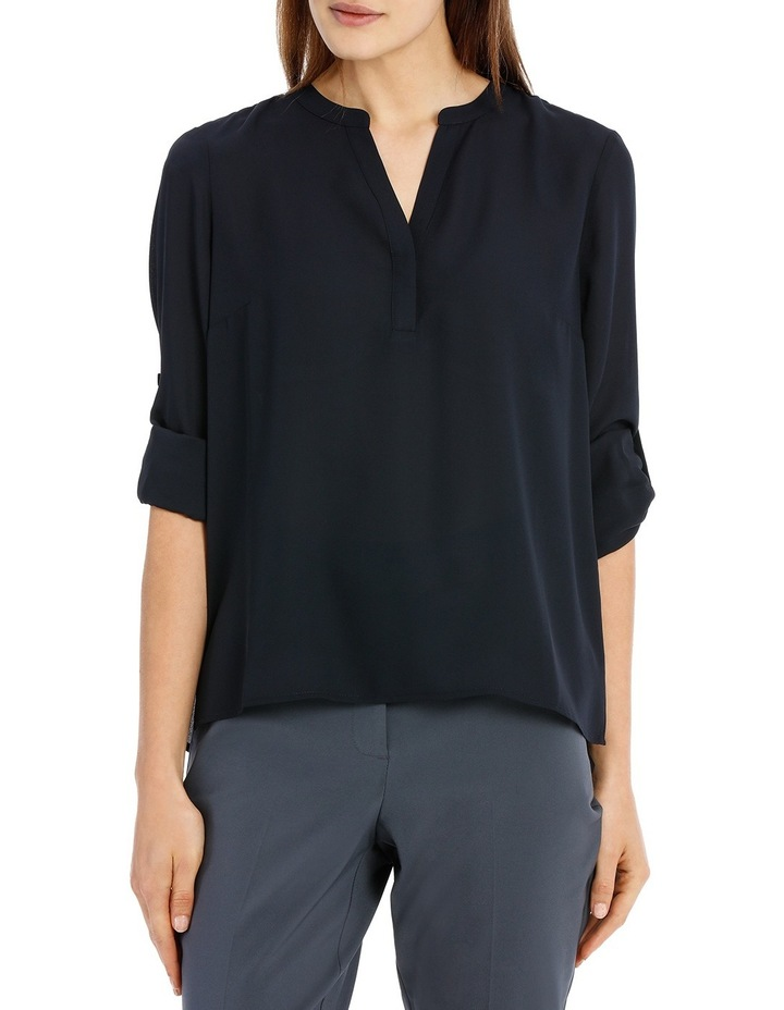 Roll Sleeve Collarless Shirt - Navy image 1