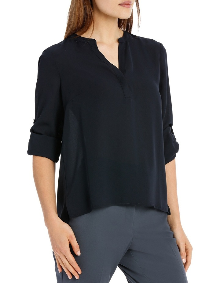 Roll Sleeve Collarless Shirt - Navy image 2