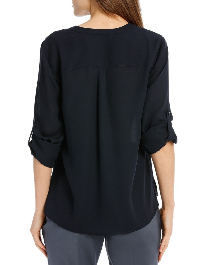 Roll Sleeve Collarless Shirt - Navy image 3