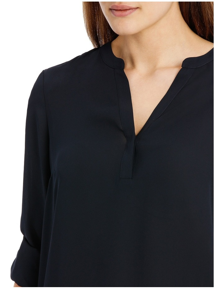 Roll Sleeve Collarless Shirt - Navy image 4