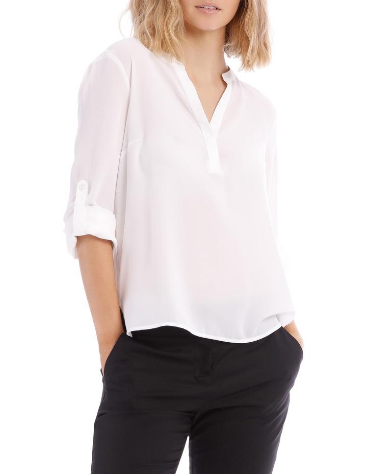 Roll Sleeve Collarless Shirt - White image 1