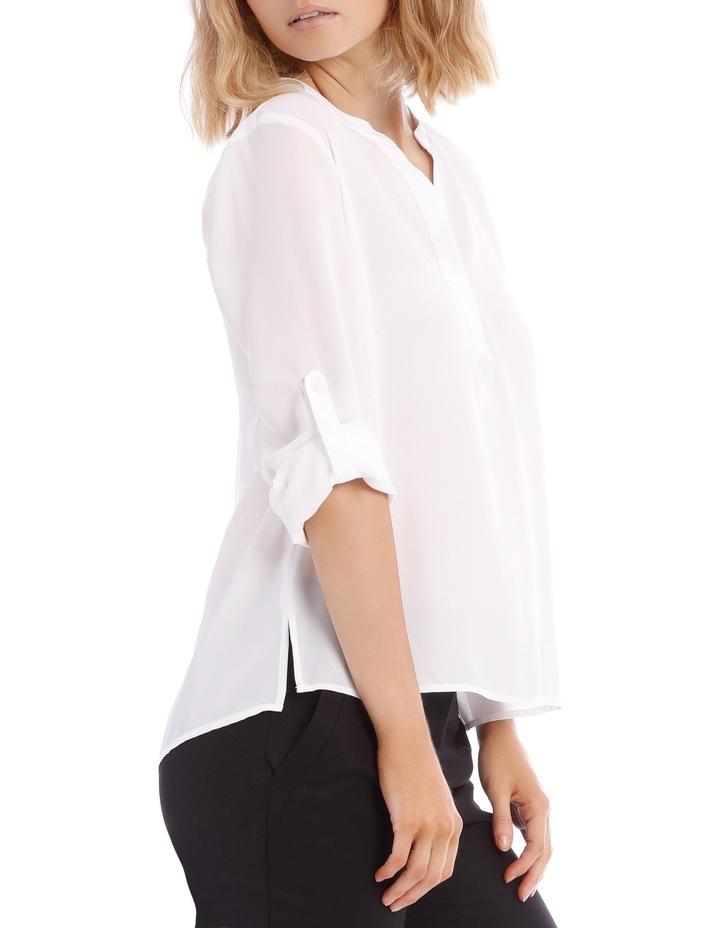 Roll Sleeve Collarless Shirt - White image 2