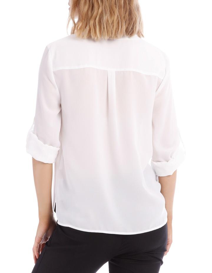 Roll Sleeve Collarless Shirt - White image 3