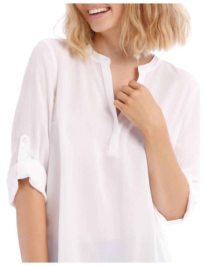 Roll Sleeve Collarless Shirt - White image 4