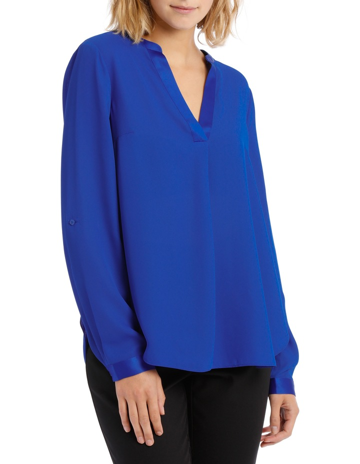 Satin Trim Roll Cuff Shirt Cobalt image 1