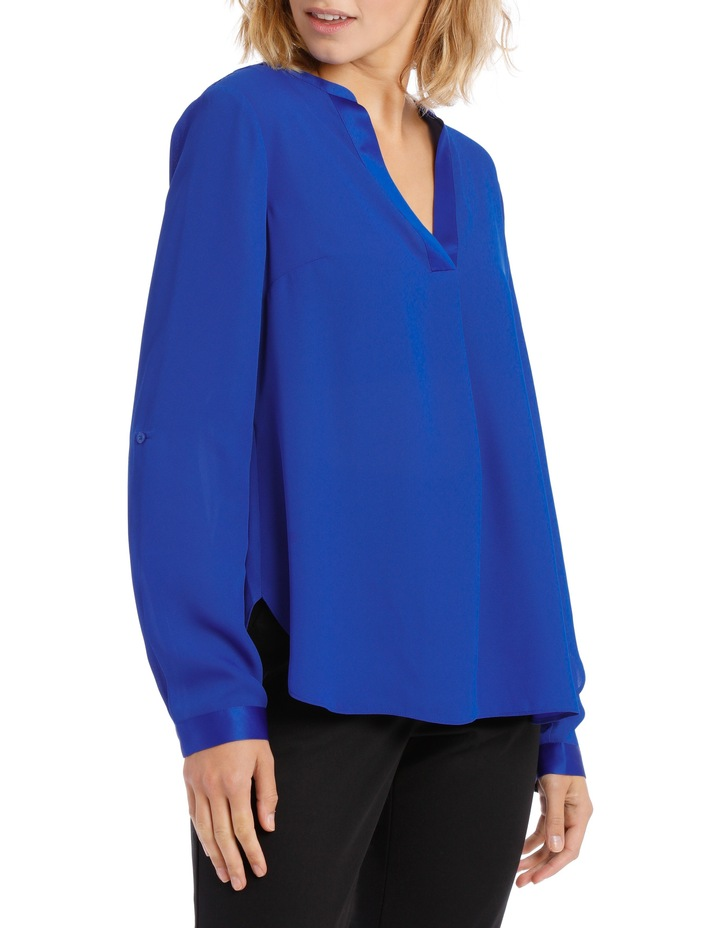 Satin Trim Roll Cuff Shirt Cobalt image 2