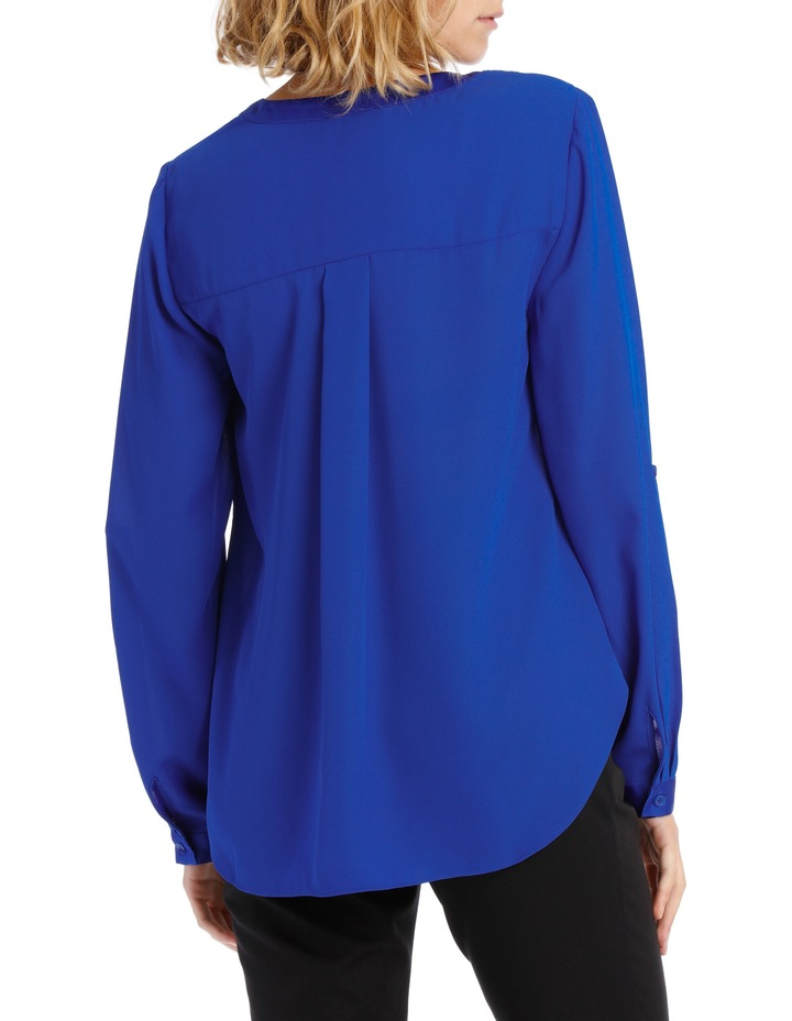 Satin Trim Roll Cuff Shirt Cobalt image 3