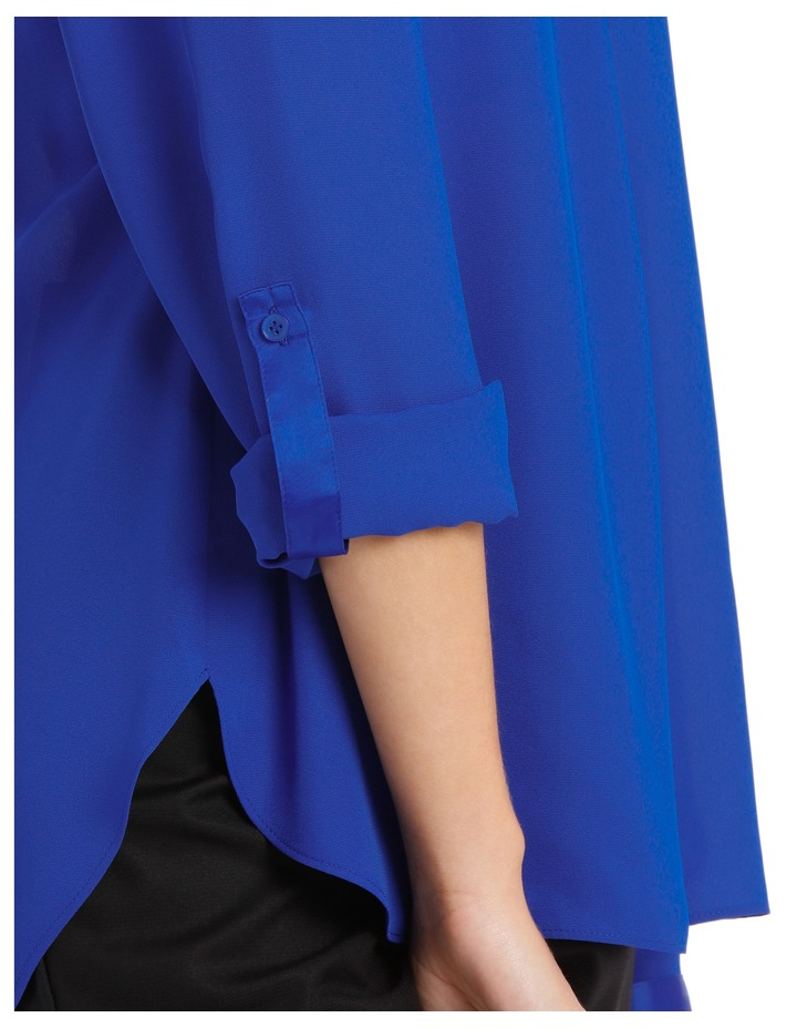 Satin Trim Roll Cuff Shirt Cobalt image 4