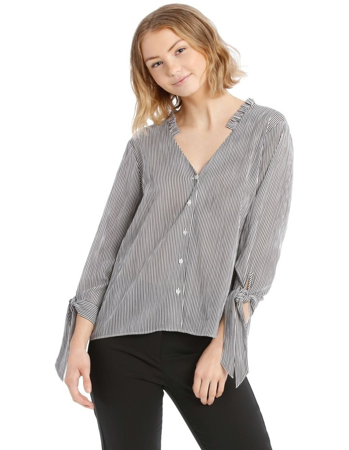Frill Neck Tie Sleeve Shirt - Steel image 1