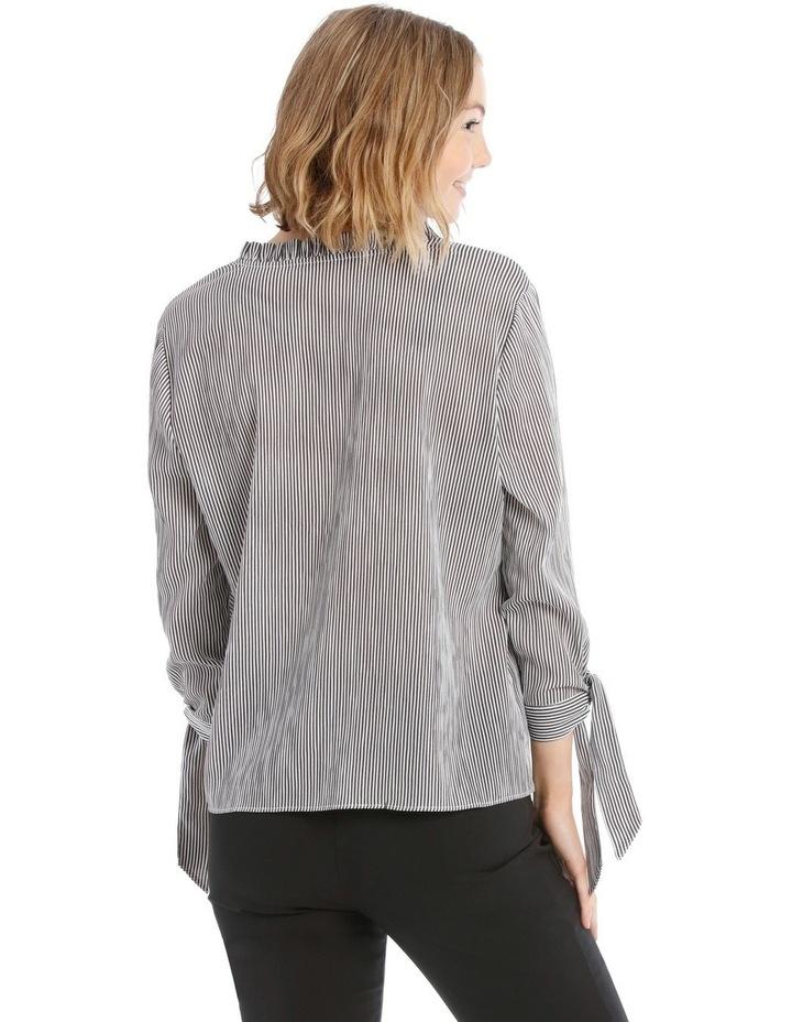 Frill Neck Tie Sleeve Shirt - Steel image 3
