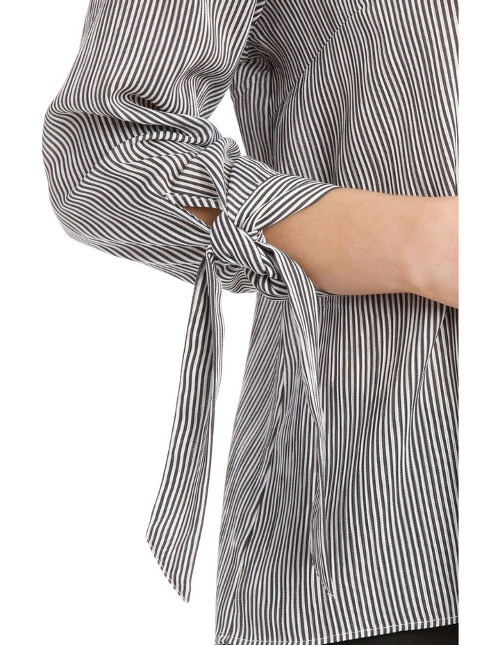 Frill Neck Tie Sleeve Shirt - Steel image 4
