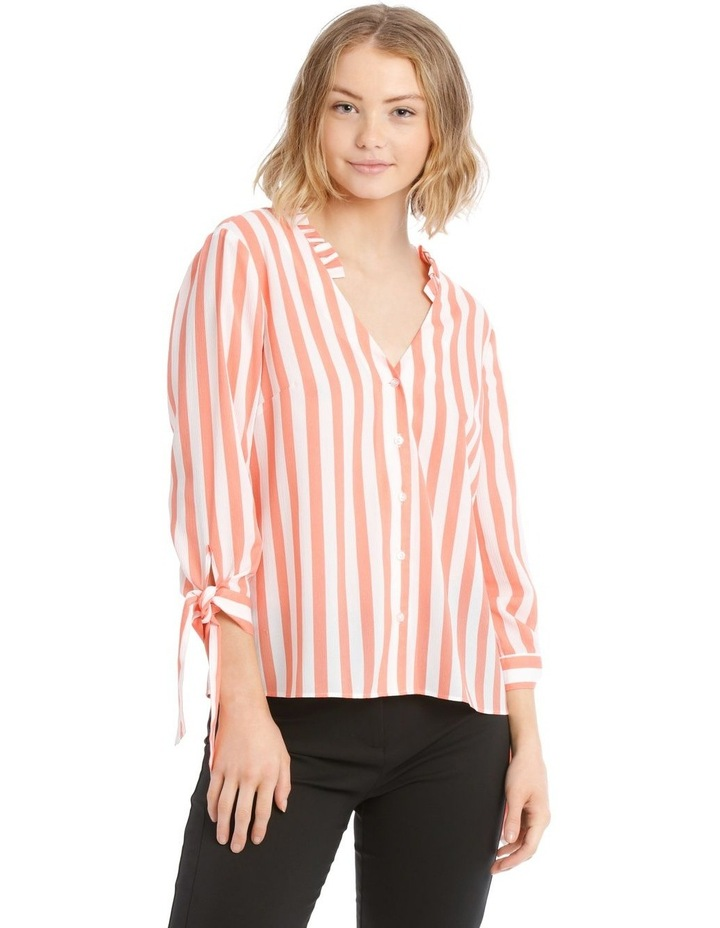 Frill Neck Tie Sleeve Shirt - Candy Stripe image 1