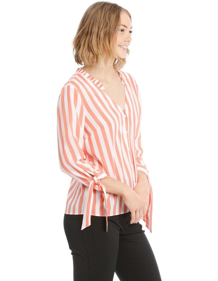 Frill Neck Tie Sleeve Shirt - Candy Stripe image 2