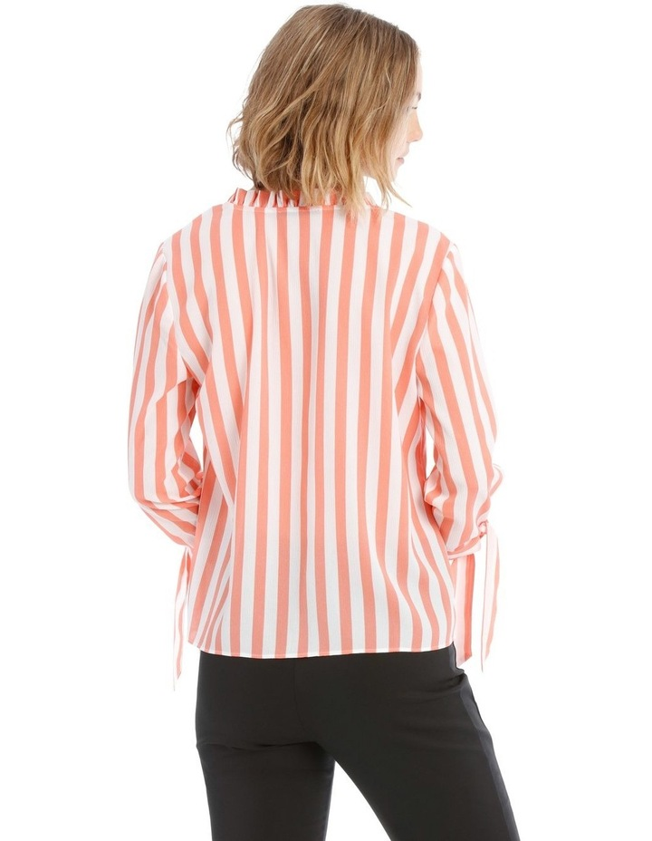 Frill Neck Tie Sleeve Shirt - Candy Stripe image 3