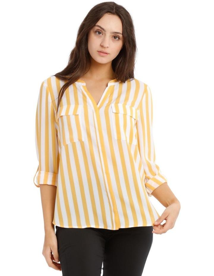 Button Through Collarless Shirt - Stripe image 1
