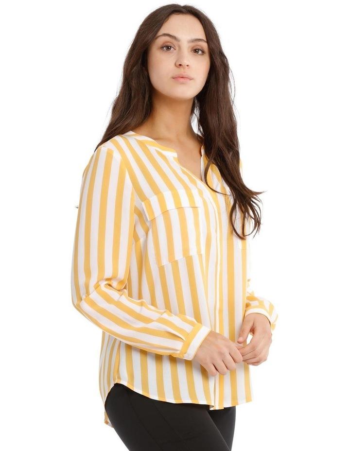 Button Through Collarless Shirt - Stripe image 2