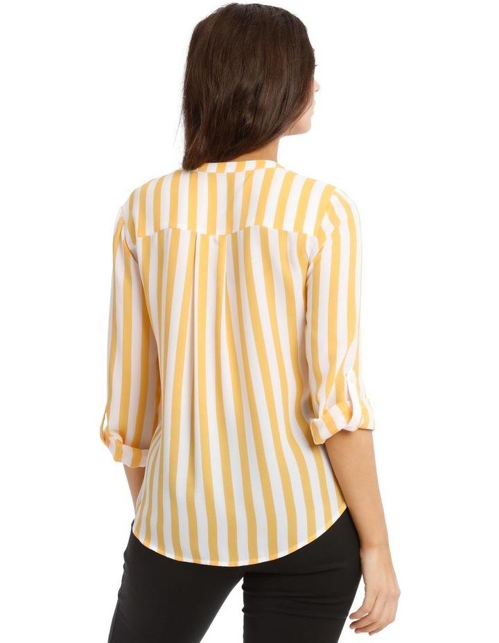 Button Through Collarless Shirt - Stripe image 3