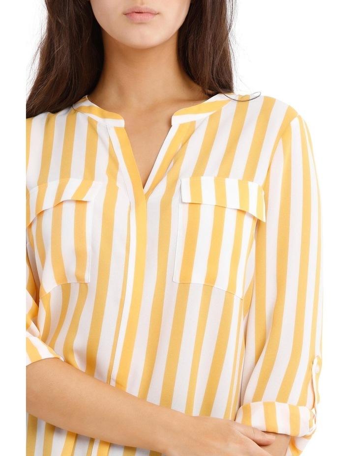 Button Through Collarless Shirt - Stripe image 4