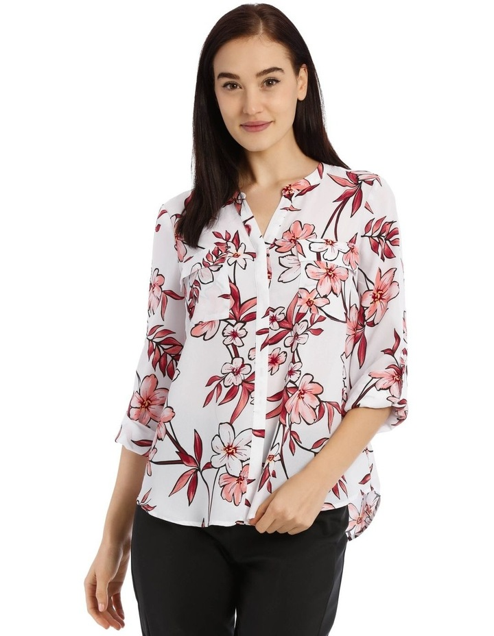 Painted Floral Button Through Collarless Shirt image 1