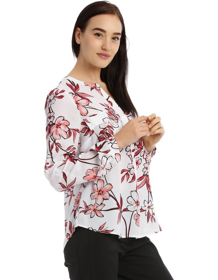Painted Floral Button Through Collarless Shirt image 2