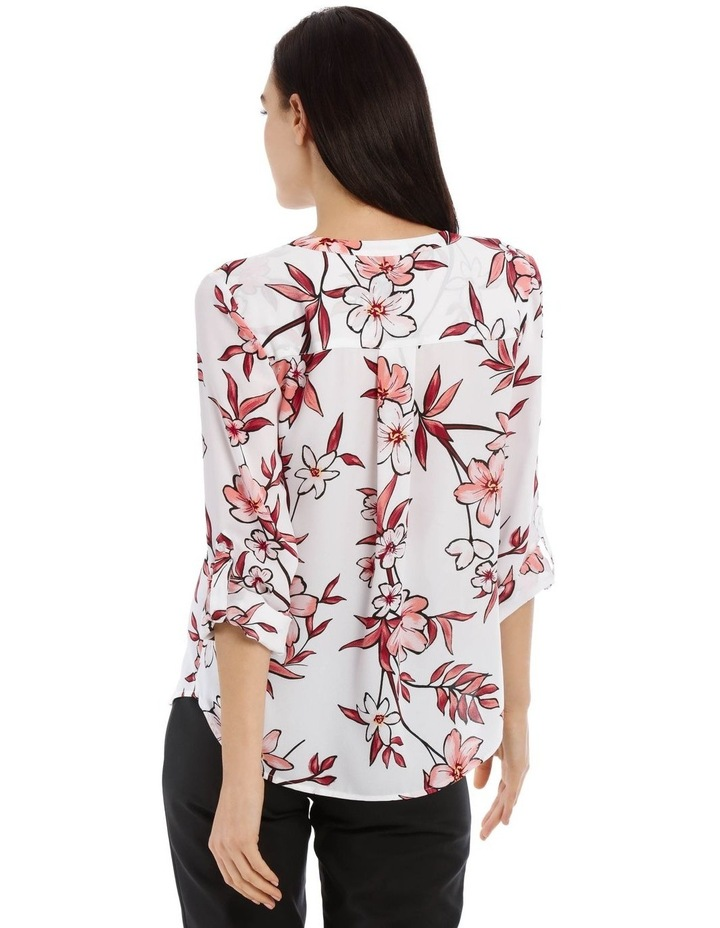 Painted Floral Button Through Collarless Shirt image 3