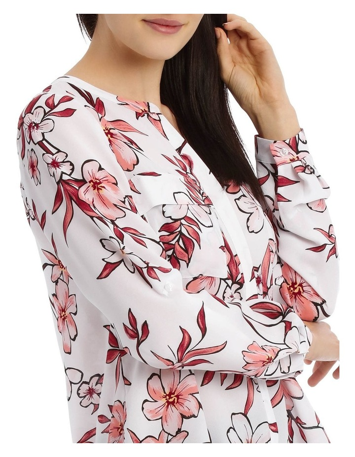 Painted Floral Button Through Collarless Shirt image 4