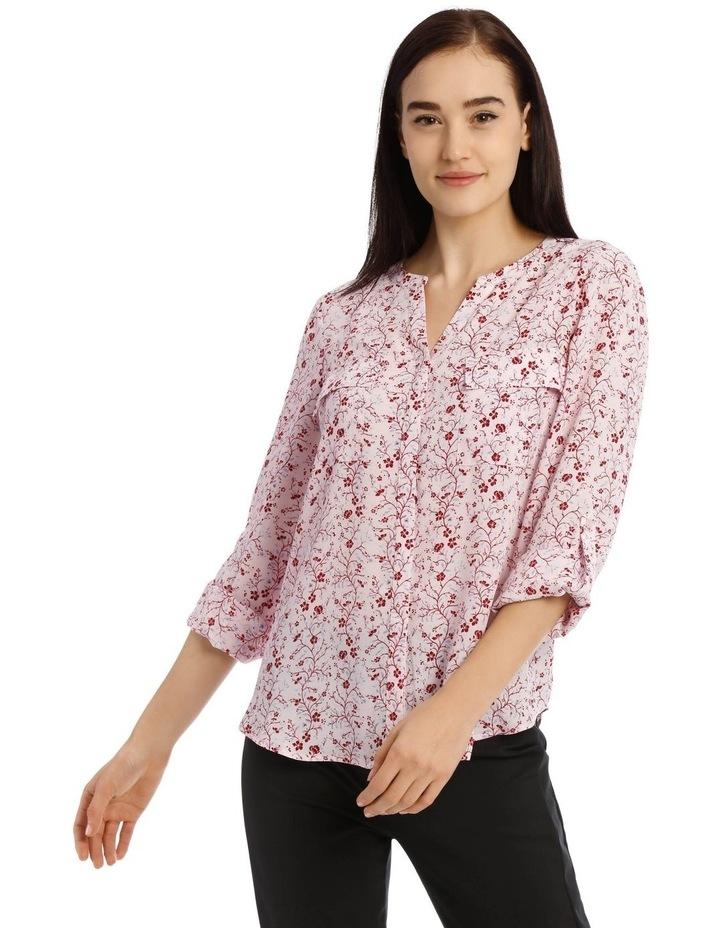 Vine Floral Button Through Collarless Shirt image 1
