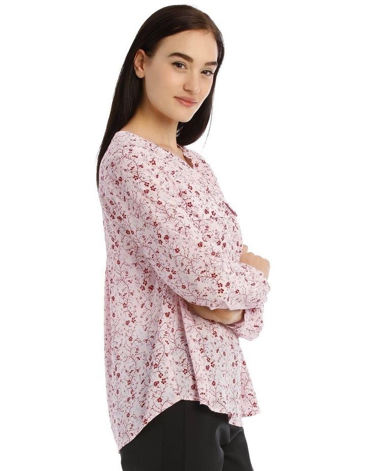 Vine Floral Button Through Collarless Shirt image 2