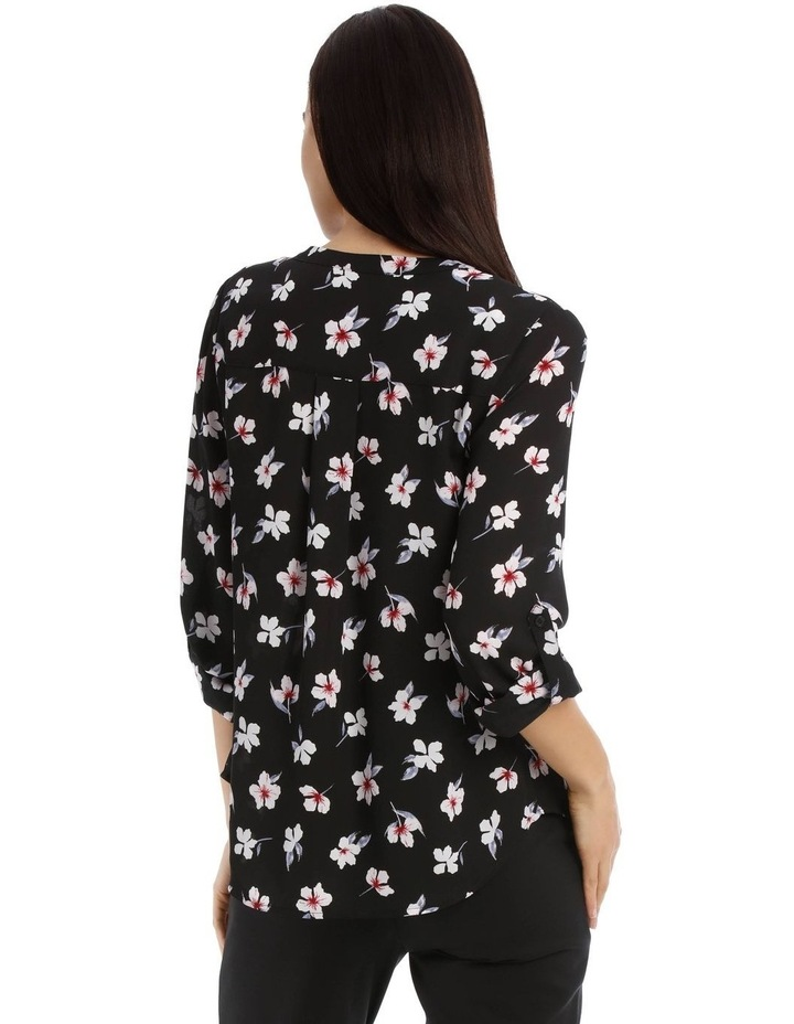 Falling Floral Button Through Collarless Shirt image 3