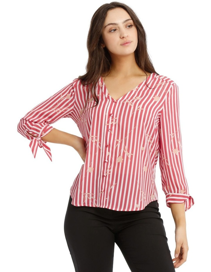 Tie Sleeve Shirt  - Stripe Floral image 1