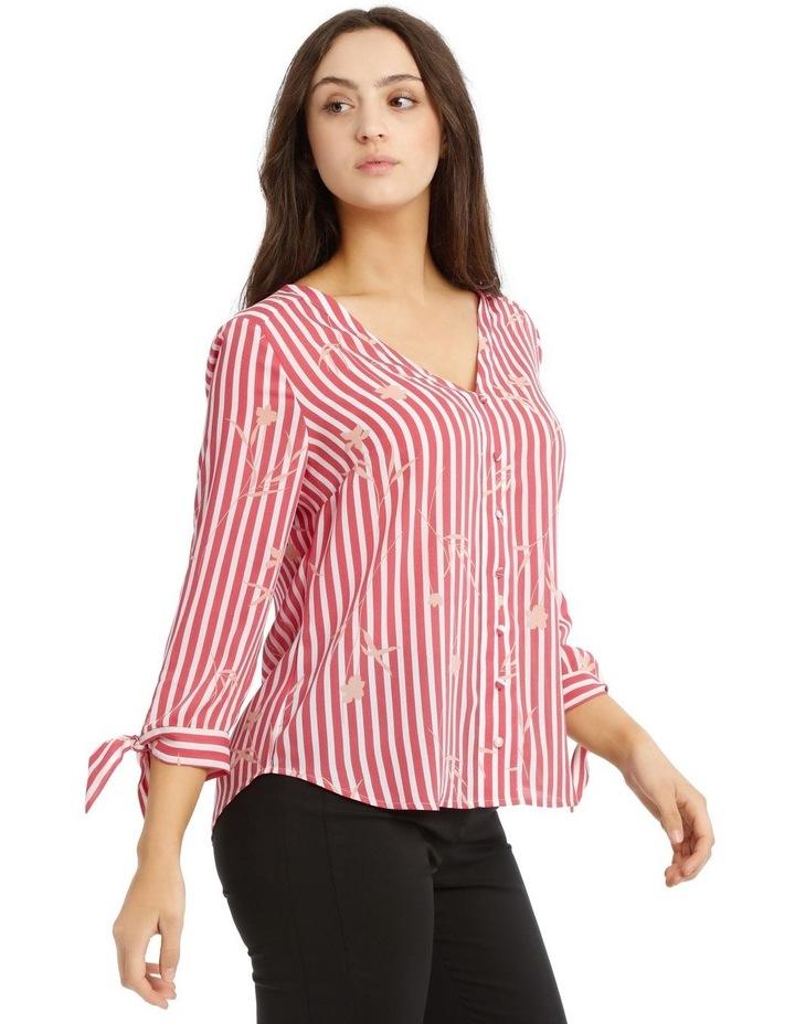 Tie Sleeve Shirt  - Stripe Floral image 2