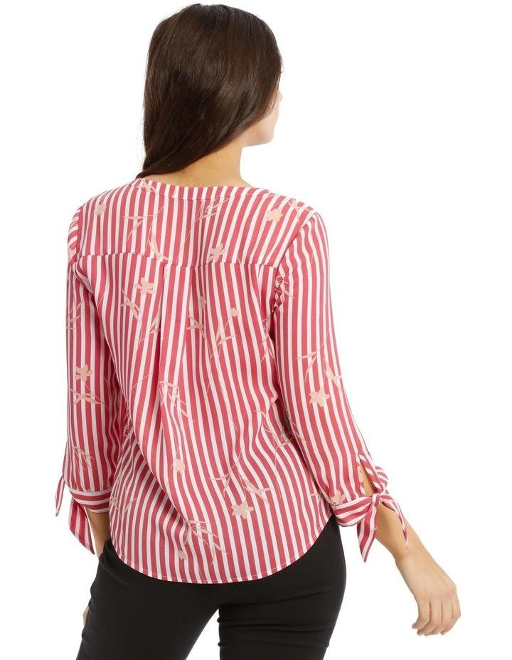 Tie Sleeve Shirt  - Stripe Floral image 3