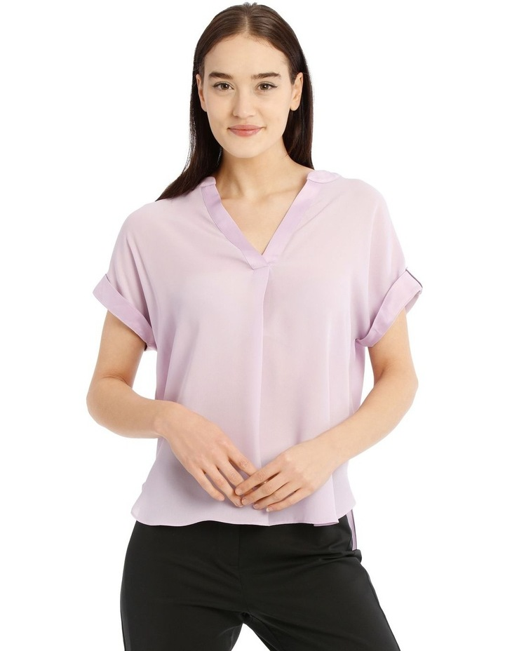 Satin Cuff Short Sleeve Shirt image 1