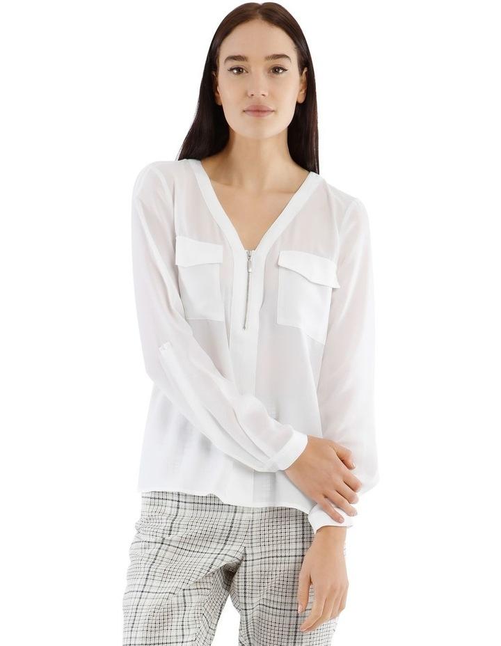 White Zip Front Shirt image 1