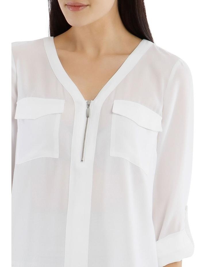 White Zip Front Shirt image 4