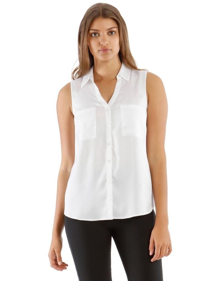 White Sleeveless Utility Shirt image 1