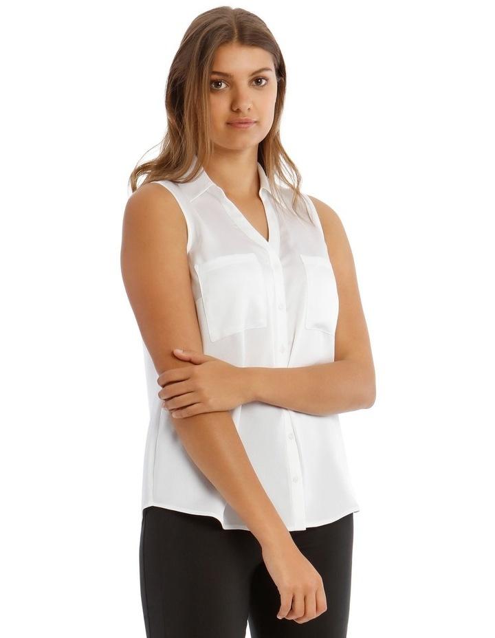 White Sleeveless Utility Shirt image 2