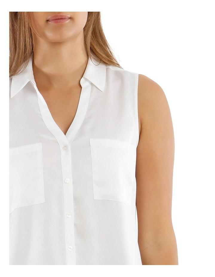 White Sleeveless Utility Shirt image 4