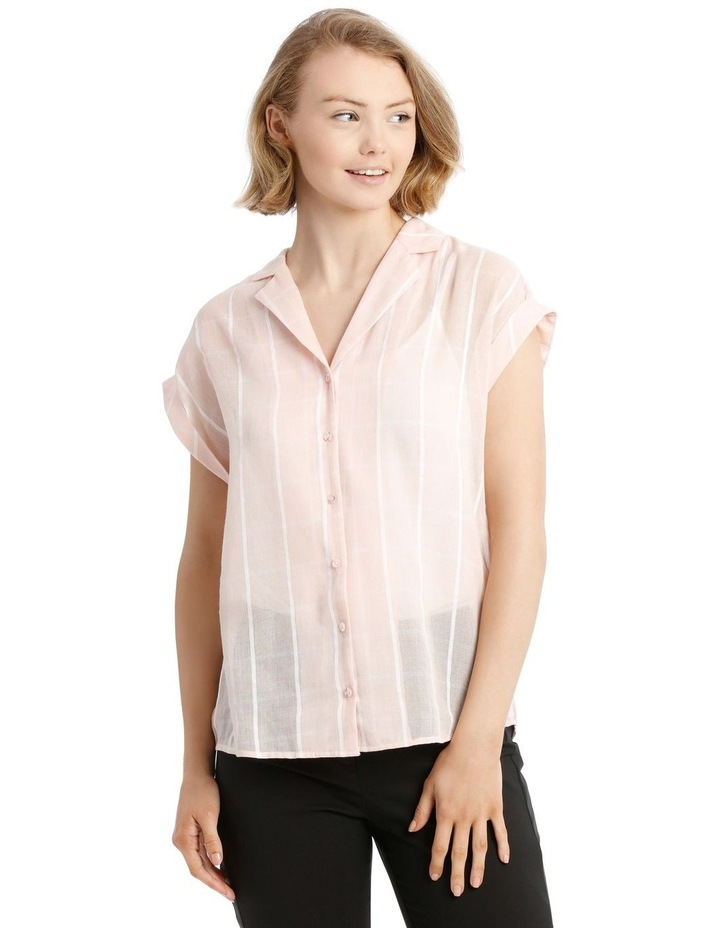 Peach Open Collar Short Sleeve Shirt image 1