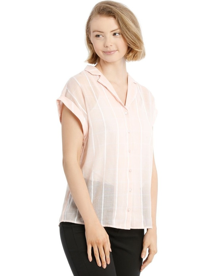 Peach Open Collar Short Sleeve Shirt image 2