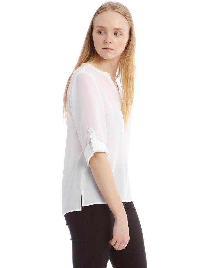 White Roll Sleeve Shirt image 2
