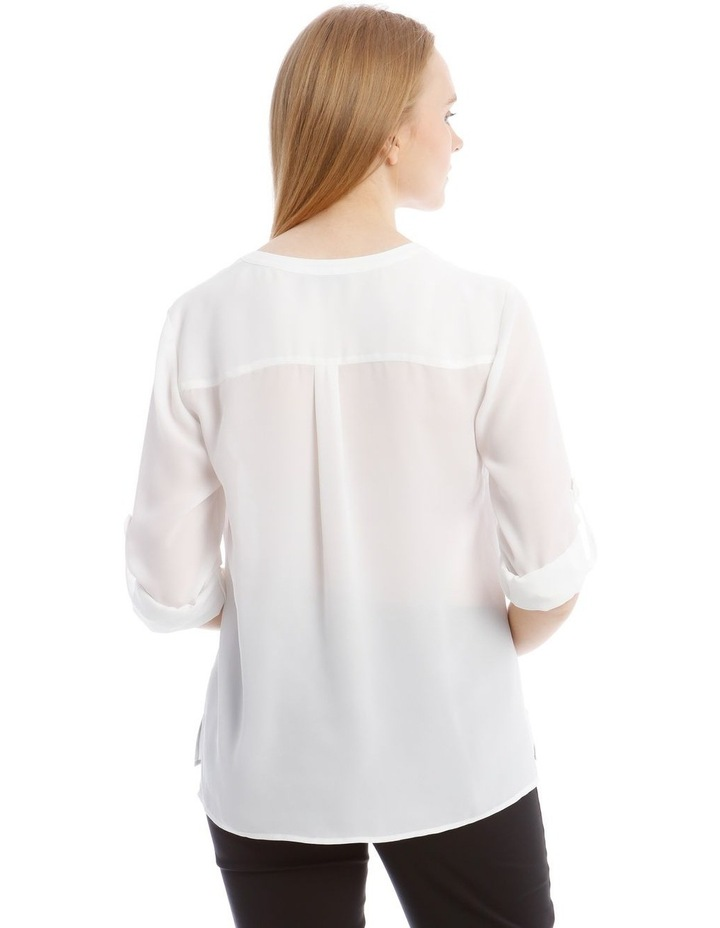 White Roll Sleeve Shirt image 3