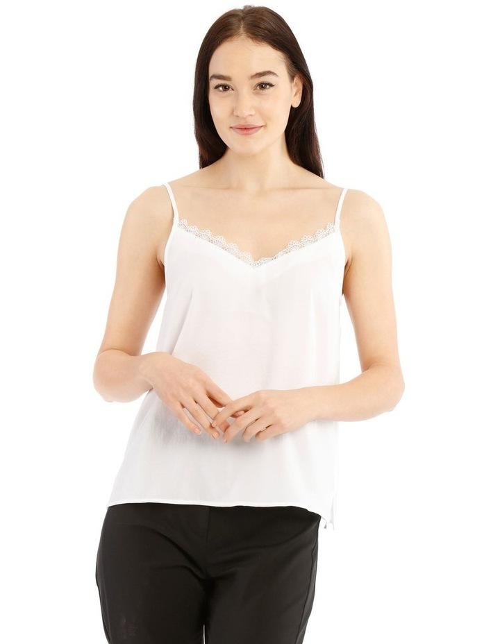 White Lace Trim Singlet image 1