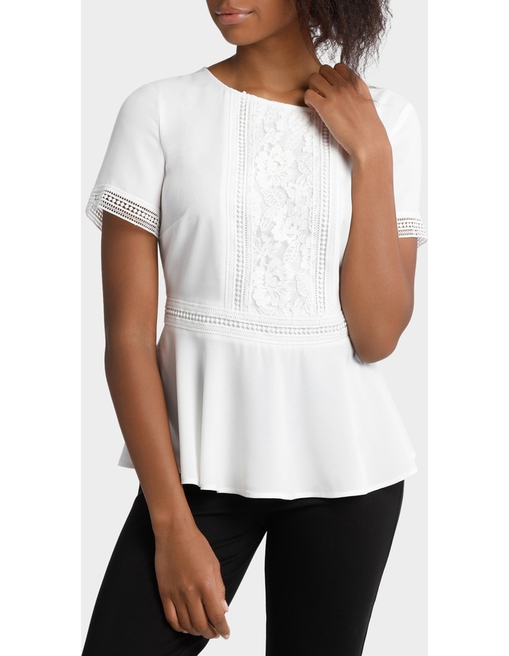 Lace Panelled Peplum Top image 1