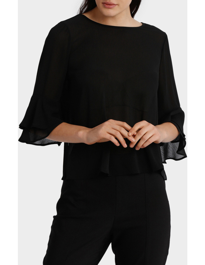 Frill Sleeve Open Back Top image 1
