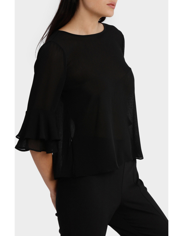 Frill Sleeve Open Back Top image 2