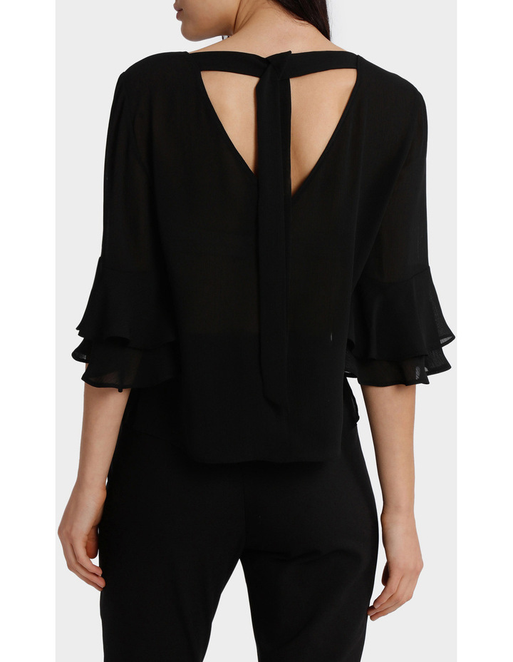 Frill Sleeve Open Back Top image 3